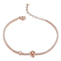 S925 Silver CZ Stones Star in Cycle Tennis Link Bracelet Rose Gold Plate - $69.44