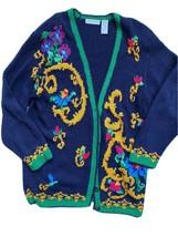 Vintage Liz Claiborne Cardigan Silk 90s Colorful Sweater Medium Navy Floral - $39.55
