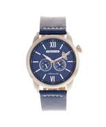 Heritor Automatic Wellington Leather-Band Watch - Silver/Blue - $750.00