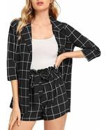 SheIn Women's 2 Pieces Plaid Thin 3/4 Sleeve Blazers and Self Tie Waist ... - $57.18+