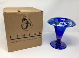 Fenton Art Glass Cobalt Crackle Hand Painted Tulip Vase- New With Box! #... - $95.00