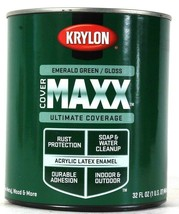 1 Can Krylon 32 Oz Cover Maxx 9633 Gloss Emerald Green Acrylic Latex Enamel - $25.99