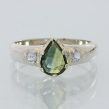Yellow Blue and White Sapphire Handmade Sterling Silver Ladies Ring size 7.5 - £56.69 GBP