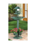 Verdigris Garden Birdbath Solar Planter (Available 7/19/20) - $47.38