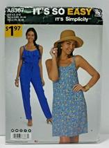 Simplicity Sewing Pattern 8367 Misses Jumpsuit Dress Size 8-18 - $9.74