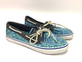 SPERRY TOPSIDER blue waves canvas rawhide lace classic boat shoes 7.5 FR... - $16.78