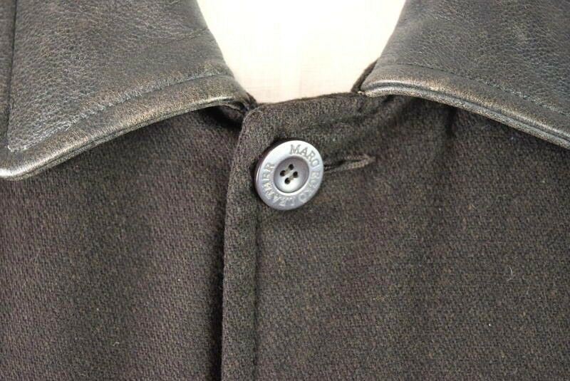 Marc Ecko Leather & Wool Heavy Bomber Jacket Brown Varsity Style Button Mens XL image 10