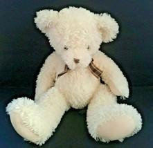 """Russ Nina Teddy Bear Cream Off White Brown Plaid Bow  18"""" - $48.28"""