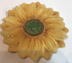 Maxcera Sunflower Dessert Plate Hand Painted Ye... - $14.84