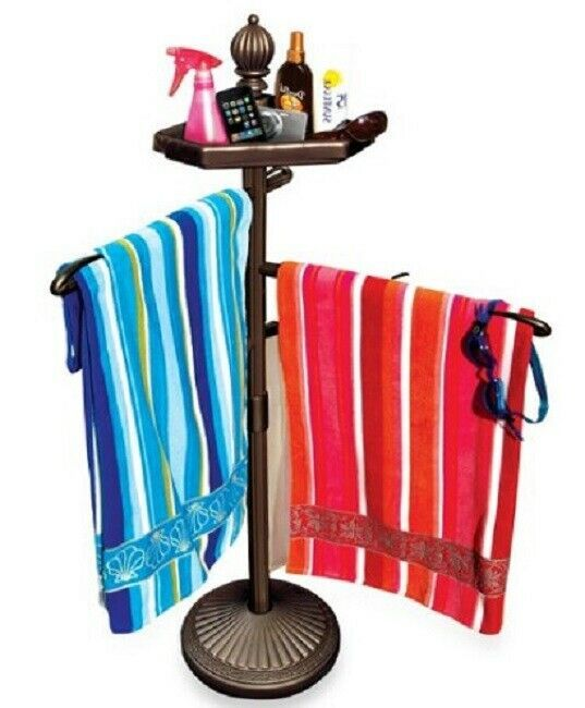 Beach Towel Rack Stand Swimming Pool Accessories Hot Tub Holder Free Standing