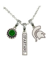 Michigan State Spartans 3 Charm Green Crystal Silver Chain Necklace Jewe... - $12.65