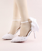 Women Ivory White Lace Wedding Heels,Girls Bridal Shoes US Size 6,7,8,9,... - £80.28 GBP