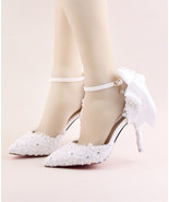 Women Ivory White Lace Wedding Heels,Girls Bridal Shoes US Size 6,7,8,9,... - €90,61 EUR