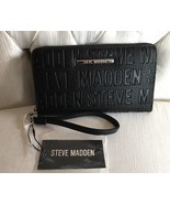 Steve Madden Wallet Black Stamped Logo Silver Zipper and nameplate Organ... - $37.99