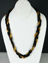 "24"" Vintage Black Beads Gold Tone Hand Made Indian Necklace Rustic Folk Art   - $18.99"