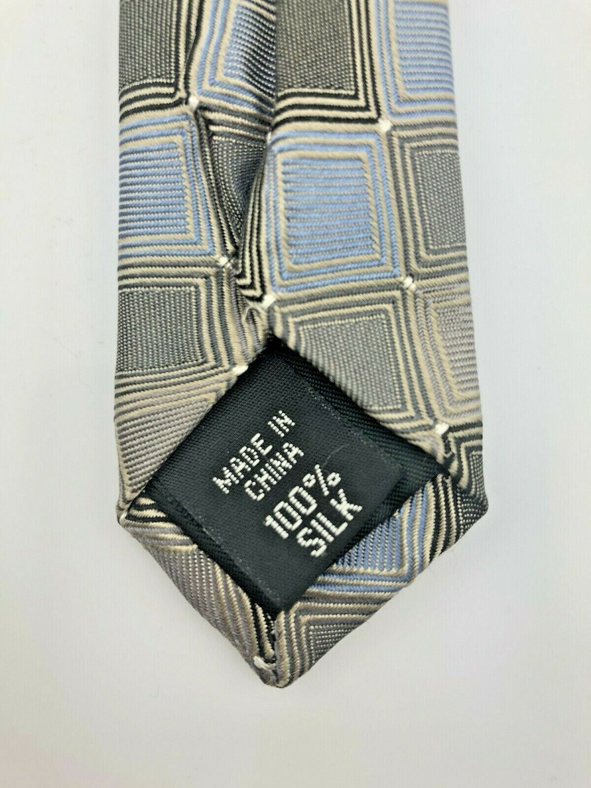 Kenneth Cole Reaction 100% SILK Neck-Tie Sky Blue, Coffee & Chocolate Brown