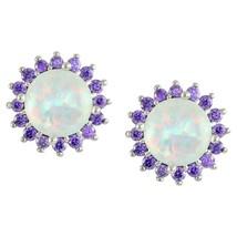 7mm Iridescent Opal+ Purple Cubic Zirconia CZ Halo Rhodium Stud Earrings - $29.69