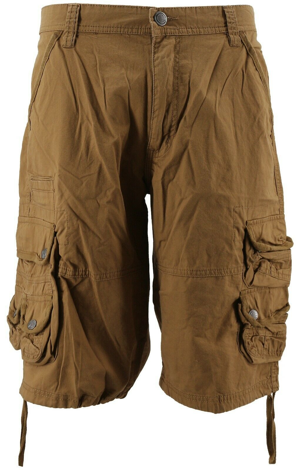 MSLM Men's Relaxed Fit Multi Pocket Cargo Shorts Brown Khaki