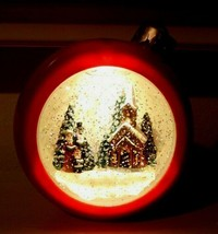 RARE RED CHRISTMAS BALL LIGHTED CONTINUAL SNOW SCENE Snow Globe - $17.77