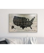 US Map Art Wooden 3D Carved Housewarming Personalized Handmade Traveler ... - $296.01+