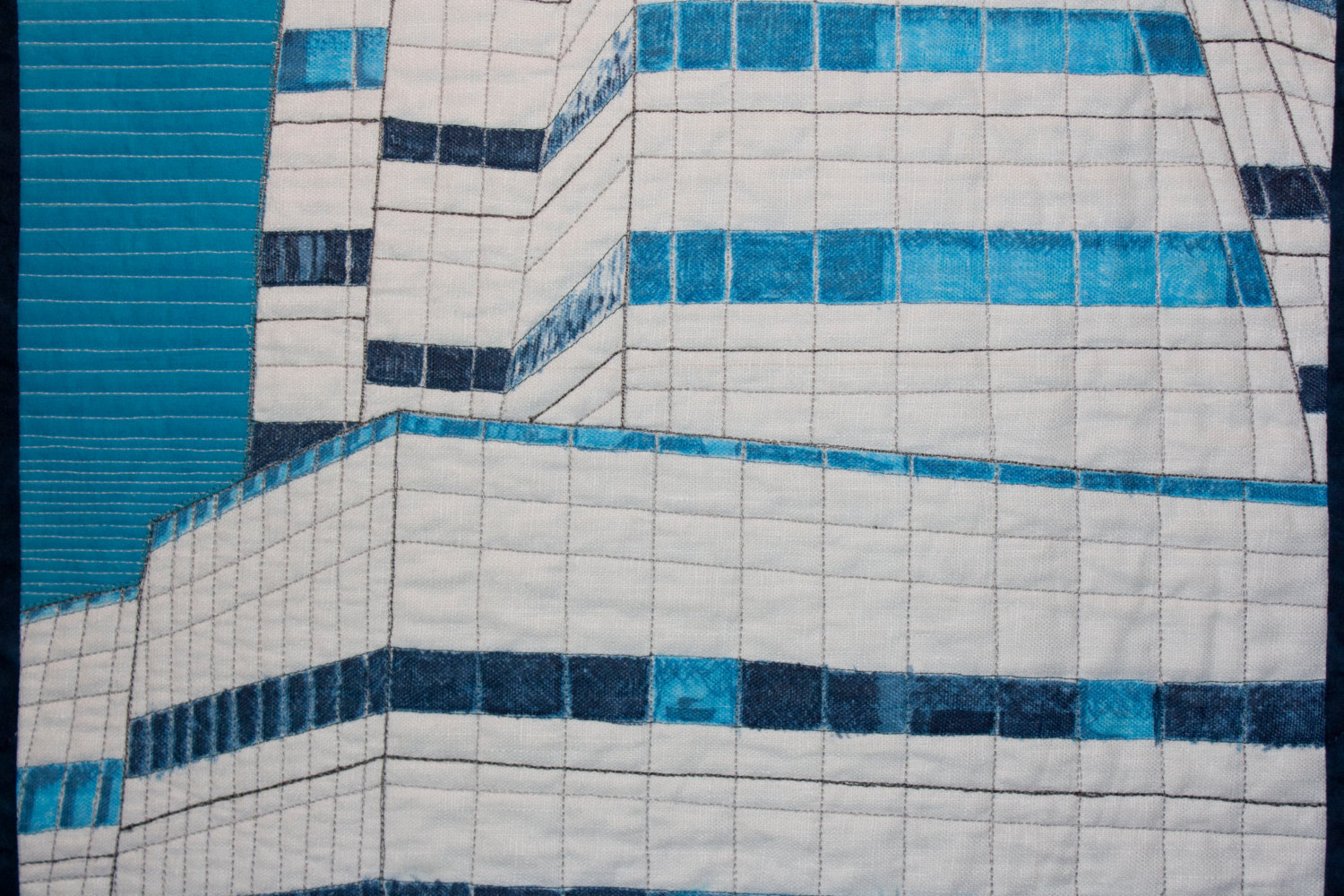 The Blue and White Building (IAC Building NYC) ~ Art Quilt