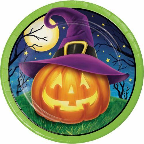 "October Eve 8 Ct 7"" Dessert Plates Halloween Cocktail JOL Witch Hat"