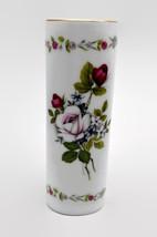 Otagiri Rose Bouquet Porcelain Bud Vase Gilt Rim - $13.86