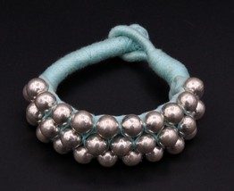 VINTAGE GENUINE SILVER BEADED VINTAGE CUFF BRACELET WOMEN'S TRIBAL JEWEL... - $65.83