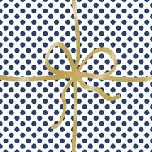 Blau Weiss Gepunktet Gold Band 33cm X X 20 X 3 Ply Papierservietten - $14.21
