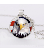 AMERICAN EAGLE FRONT CABOCHON NECKLACE   #10005  >> COMBINED SHIPPING - $4.25