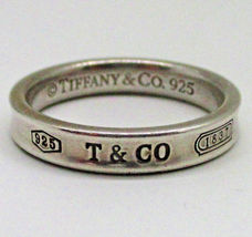 TIFFANY & CO. Vintage Narrow Concave 1837 RING in Sterling Silver - Size... - $135.00