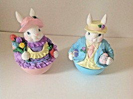 Easter 2 Revolving Bunnies Musical Both Play Easter Parade 7.5 Inches Hi... - $15.68