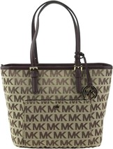 Michael Kors Women's Premium Jet Set Travel Medium Tote Bag Beige Ebony Mocha