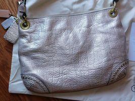 Coach Poppy Metallic Leather Whipstitch Hippie Convertible Bag 19014 Platinum image 8