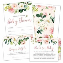 Set of 25 Floral Baby Shower Invitations, Diaper Raffle Tickets and Baby Shower
