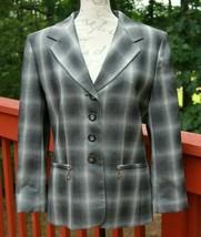 Escada Margaretha Ley Size 40 Gray Plaid Blazer New Wool 4 Button Jacket... - $64.12
