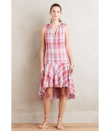 New Anthropologie Pippa Swing Dress by Maeve Pink Plaid SMALL - $47.52