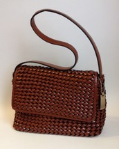Nine West Brown Purse Woven Faux Leather Handbag Tote Shoulder Bag Lined - $44.00