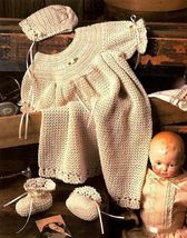 Y990 Crochet PATTERN ONLY Heirloom Christening Set Gown Bonnet Booties Pattern - $10.50