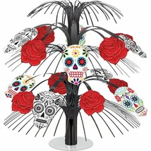 "Day of the Dead-Halloween Black & Bone Cascade Centerpiece (18"") Foil - $11.39"
