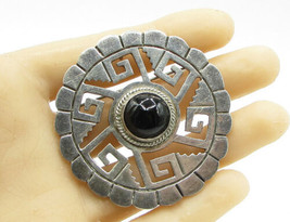 MEXICO 925 Sterling Silver - Vintage Antique Obsidian Tribal Brooch Pin ... - $106.39