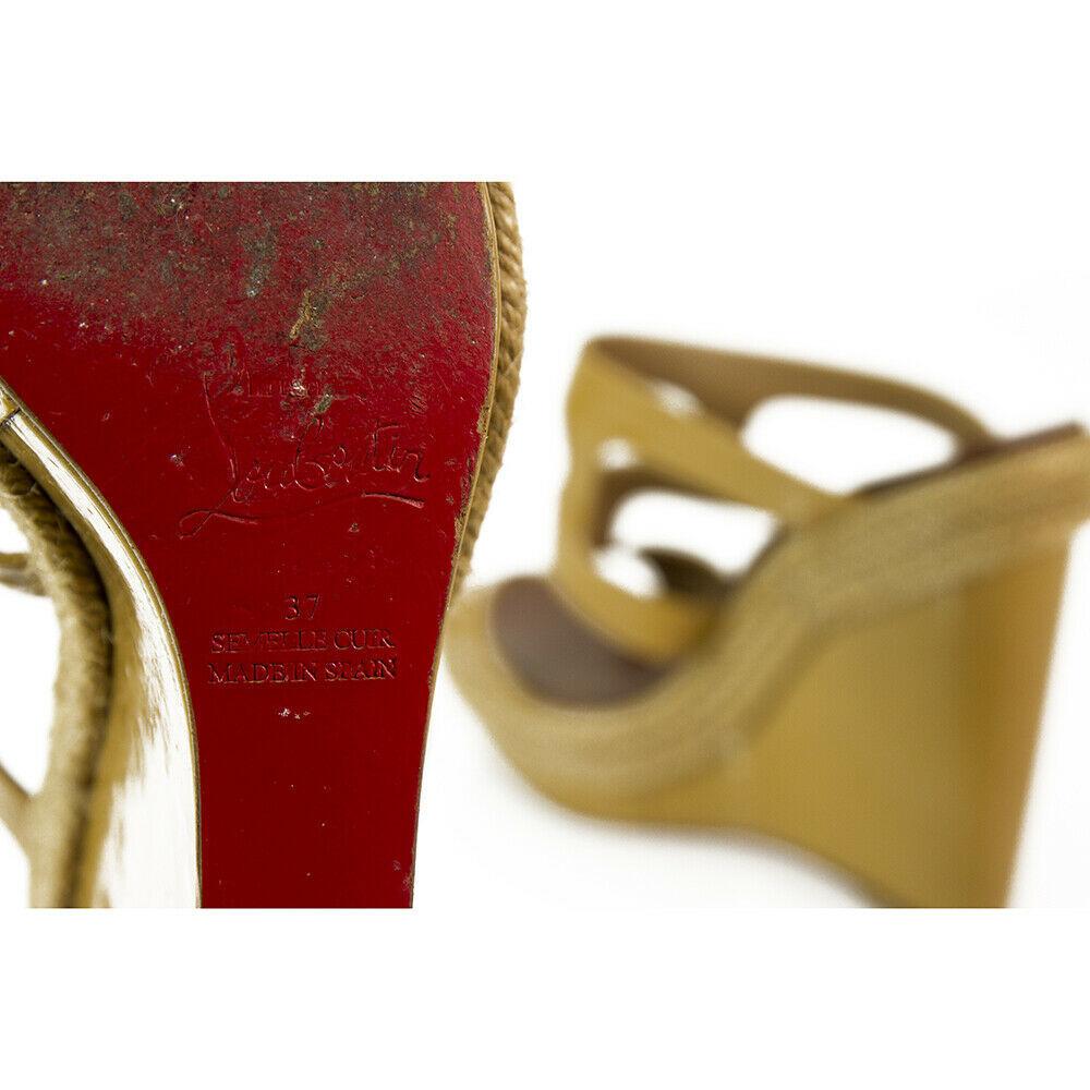 CHRISTIAN LOUBOUTIN Salamanca Espadrille beige Patent Leather Wedges Shoes sz 37 image 9
