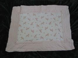 VTG Gymboree 2002 Pink Velour Velvet Quilted Blanket Holiday Flower Floral Baby - $89.08