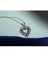 "14k yellow gold .25ct SI2 H Diamond Heart pendant necklace 2.2g 18"" Dainty - $366.29"