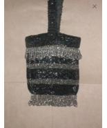Antique Vintage 1920's black & pewter Beaded Fringe Flapper Purse - $37.62