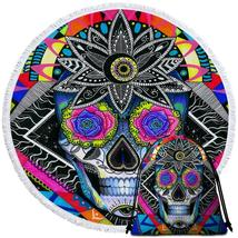 Psychedelic Roses Eyes Skull  Beach Towel - $12.32+