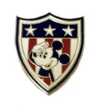 Walt Disney Pin Mickey Americana Saluting Stars Stripes Red White Blue Shield - $19.37