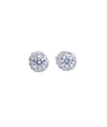 925 Sterling Silver Earrings Women Fashion Stud Halo Earring Round - $41.99