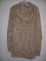 New ANTHROPOLOGIE S Beige/Brown Marled Tweed Cowl Neck Long Cardigan Swe... - $84.14