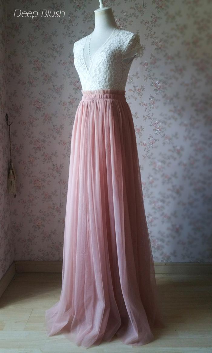 Women's Pink High Waist Floor Length Tulle Skirt Pink Wedding Bridesmaid Skirts